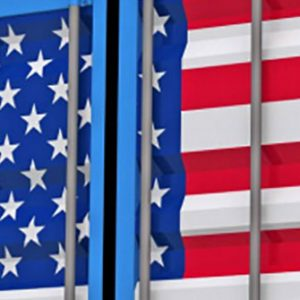 Container mit US-Flagge