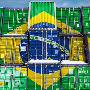 Container mit Flagge Brasilien