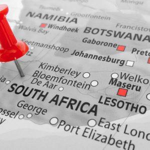 Pin in Karte von Südafrika