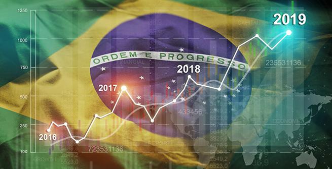 Bovespa-Index vor Flagge Brasiliens