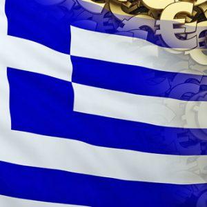 Griechische Flagge und Euro-Symbole