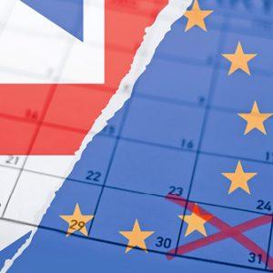 Austrittsdatum und britische Flagge
