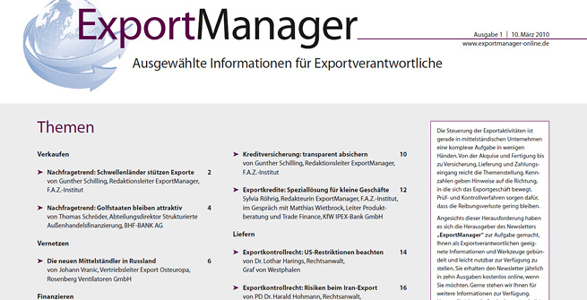 "Titelseite ""ExportManager"""