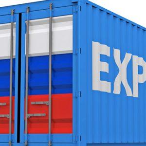 Container mit russischer Flagge
