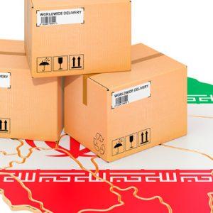 Pakete vor Landkarte Irans