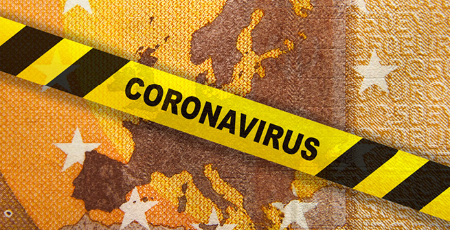 Absperrband Coronavirus vor Euro-Note