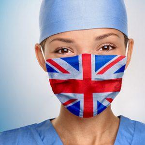 Mundschutz mit britischer Flagge