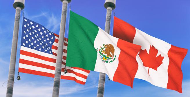Flaggen USA, Mexiko, Kanada