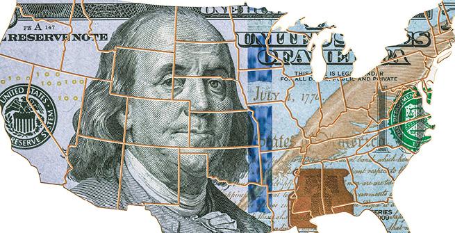 Banknote auf Karte USA