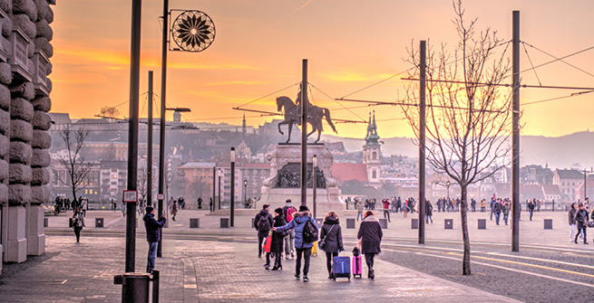 Straßenszene in Budapest