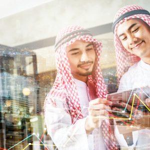 Arabische Männer mit Grafik