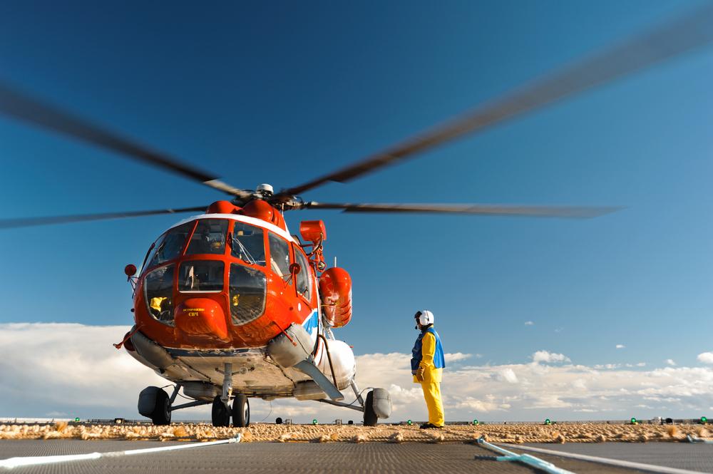 Helikopter auf Ölplattform