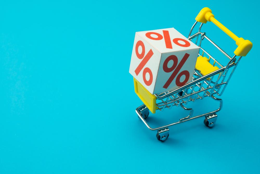 Einkaufswagen mit Prozentzeichen